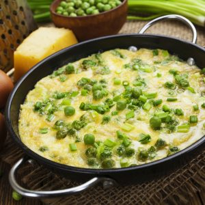 Tortilla de arroz integral y arvejas